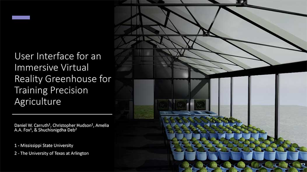 User Interface for an Immersive Virtual Reality Greenhouse for Training Precision Agriculture